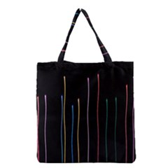 Falling Light Lines Color Pink Blue Yellow Grocery Tote Bag