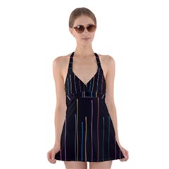 Falling Light Lines Color Pink Blue Yellow Halter Swimsuit Dress