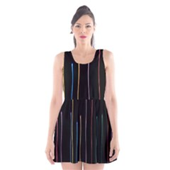 Falling Light Lines Color Pink Blue Yellow Scoop Neck Skater Dress