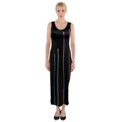 Falling Light Lines Color Pink Blue Yellow Fitted Maxi Dress