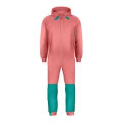 Flag Color Pink Blue Line Hooded Jumpsuit (Kids)