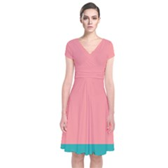 Flag Color Pink Blue Line Short Sleeve Front Wrap Dress