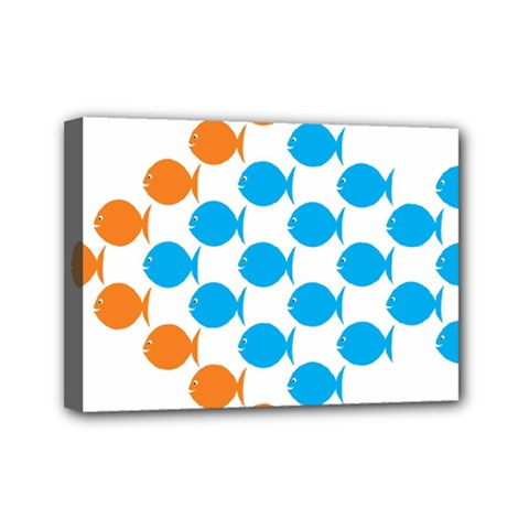 Fish Arrow Orange Blue Mini Canvas 7  X 5