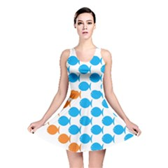 Fish Arrow Orange Blue Reversible Skater Dress