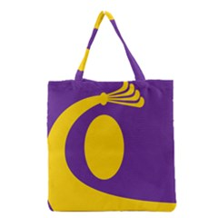 Flag Purple Yellow Circle Grocery Tote Bag