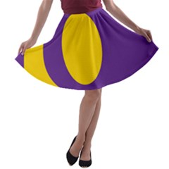 Flag Purple Yellow Circle A-line Skater Skirt