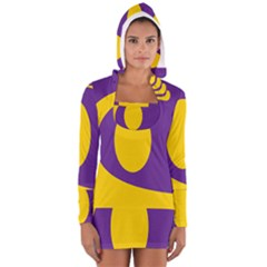 Flag Purple Yellow Circle Women s Long Sleeve Hooded T Shirt