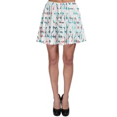 Connect Dots Color Rainbow Blue Red Circle Line Skater Skirt