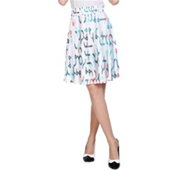 Connect Dots Color Rainbow Blue Red Circle Line A-Line Skirt
