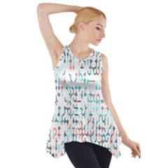 Connect Dots Color Rainbow Blue Red Circle Line Side Drop Tank Tunic