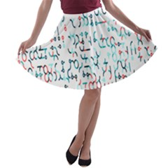 Connect Dots Color Rainbow Blue Red Circle Line A-line Skater Skirt