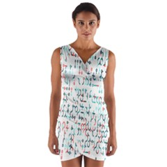 Connect Dots Color Rainbow Blue Red Circle Line Wrap Front Bodycon Dress