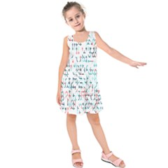 Connect Dots Color Rainbow Blue Red Circle Line Kids  Sleeveless Dress