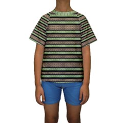 Camo Stripes Print Kids  Short Sleeve Swimwear