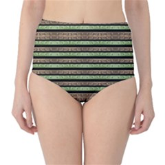 Camo Stripes Print High-Waist Bikini Bottoms