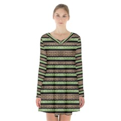 Camo Stripes Print Long Sleeve Velvet V Neck Dress