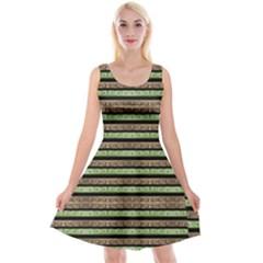 Camo Stripes Print Reversible Velvet Sleeveless Dress
