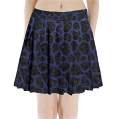 Skin1 Black Marble & Blue Leather (r) Pleated Mini Skirt