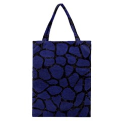 Skin1 Black Marble & Blue Leather Classic Tote Bag
