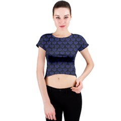 SCA3 BK-MRBL BL-LTHR (R) Crew Neck Crop Top