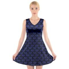 SCA3 BK-MRBL BL-LTHR (R) V-Neck Sleeveless Skater Dress