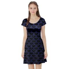 SCA3 BK-MRBL BL-LTHR Short Sleeve Skater Dress