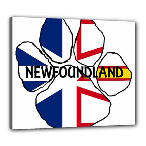 Newfoundland And Labrador Flag Name Paw Canvas 24  x 20