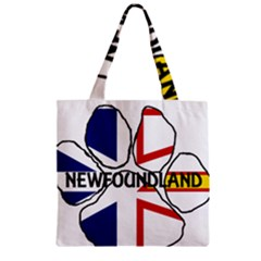 Newfoundland And Labrador Flag Name Paw Zipper Grocery Tote Bag