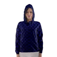 Scales1 Black Marble & Blue Leather (r) Hooded Wind Breaker (women)
