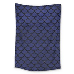 Scales1 Black Marble & Blue Leather (r) Large Tapestry