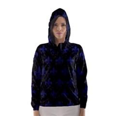 Royal1 Black Marble & Blue Leather (r) Hooded Wind Breaker (women)
