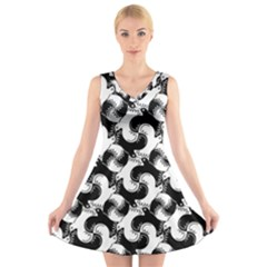 Birds Flock Together V Neck Sleeveless Skater Dress
