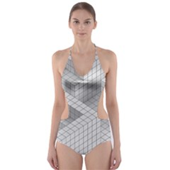 Design Grafis Pattern Cut Out One Piece Swimsuit