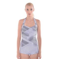Design Grafis Pattern Boyleg Halter Swimsuit