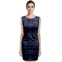 PUZ1 BK-MRBL BL-LTHR Classic Sleeveless Midi Dress