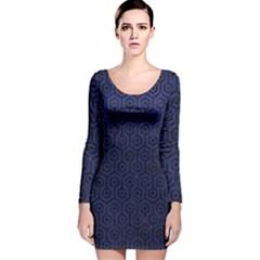 HXG1 BK-MRBL BL-LTHR (R) Long Sleeve Velvet Bodycon Dress