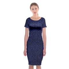 HXG1 BK-MRBL BL-LTHR (R) Classic Short Sleeve Midi Dress