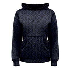 Hexagon1 Black Marble & Blue Leather Women s Pullover Hoodie