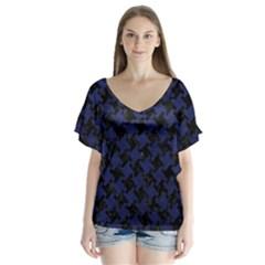 Houndstooth2 Black Marble & Blue Leather V Neck Flutter Sleeve Top