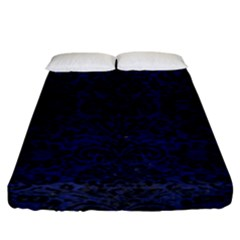 Damask2 Black Marble & Blue Leather (r) Fitted Sheet (king Size)