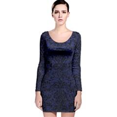 DMS2 BK-MRBL BL-LTHR (R) Long Sleeve Velvet Bodycon Dress