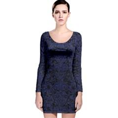 DMS2 BK-MRBL BL-LTHR Long Sleeve Velvet Bodycon Dress