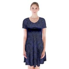 DMS1 BK-MRBL BL-LTHR (R) Short Sleeve V-neck Flare Dress