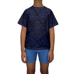 DMS1 BK-MRBL BL-LTHR Kids  Short Sleeve Swimwear