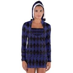 DIA1 BK-MRBL BL-LTHR Women s Long Sleeve Hooded T-shirt