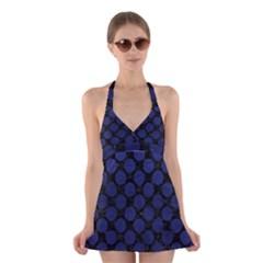 CIR2 BK-MRBL BL-LTHR Halter Swimsuit Dress
