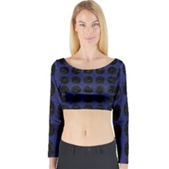 CIR1 BK-MRBL BL-LTHR (R) Long Sleeve Crop Top
