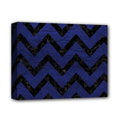 Chevron9 Black Marble & Blue Leather (r) Deluxe Canvas 14  X 11  (stretched)