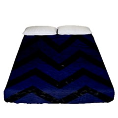 Chevron9 Black Marble & Blue Leather (r) Fitted Sheet (queen Size)