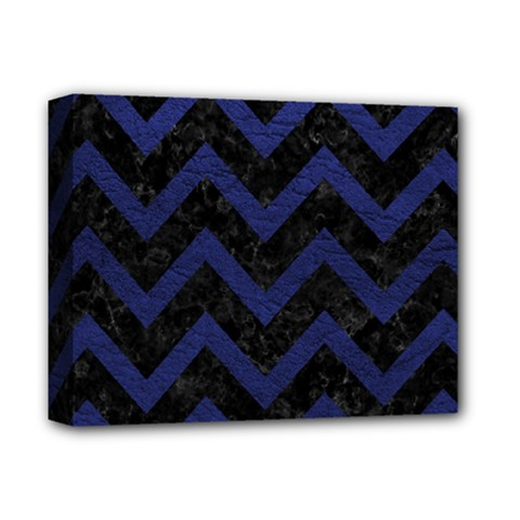 Chevron9 Black Marble & Blue Leather Deluxe Canvas 14  X 11  (stretched)